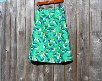 Women's A Line Skirt, Green Skirt, Bird Skirt, Modernist, NEW JOEL DEWBERRY, Perch, Simple A-line, Custom made in all sizes, and lengths