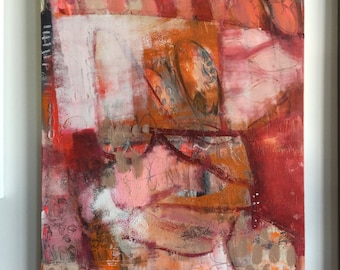 Large Abstract Urban Art/Painting Pink Red Orange