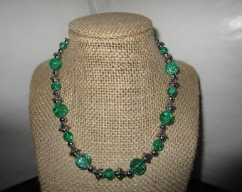 Green Clear Glass Beaded Necklace