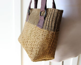 Brown Chenille Tote Bag