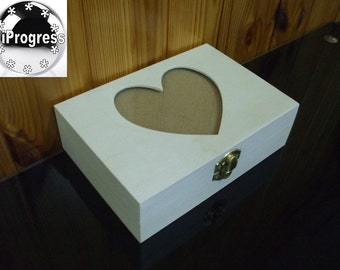 6.7X4.7X2.0 Inch Unfinished Hinged Wooden Box with Glass Lid and Heart Cutout Photo Frame