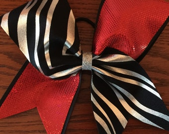 Tic toc cheer bow in Black and silver zebra with red  also availabe in all zebra or pick your color fir the tic toc style