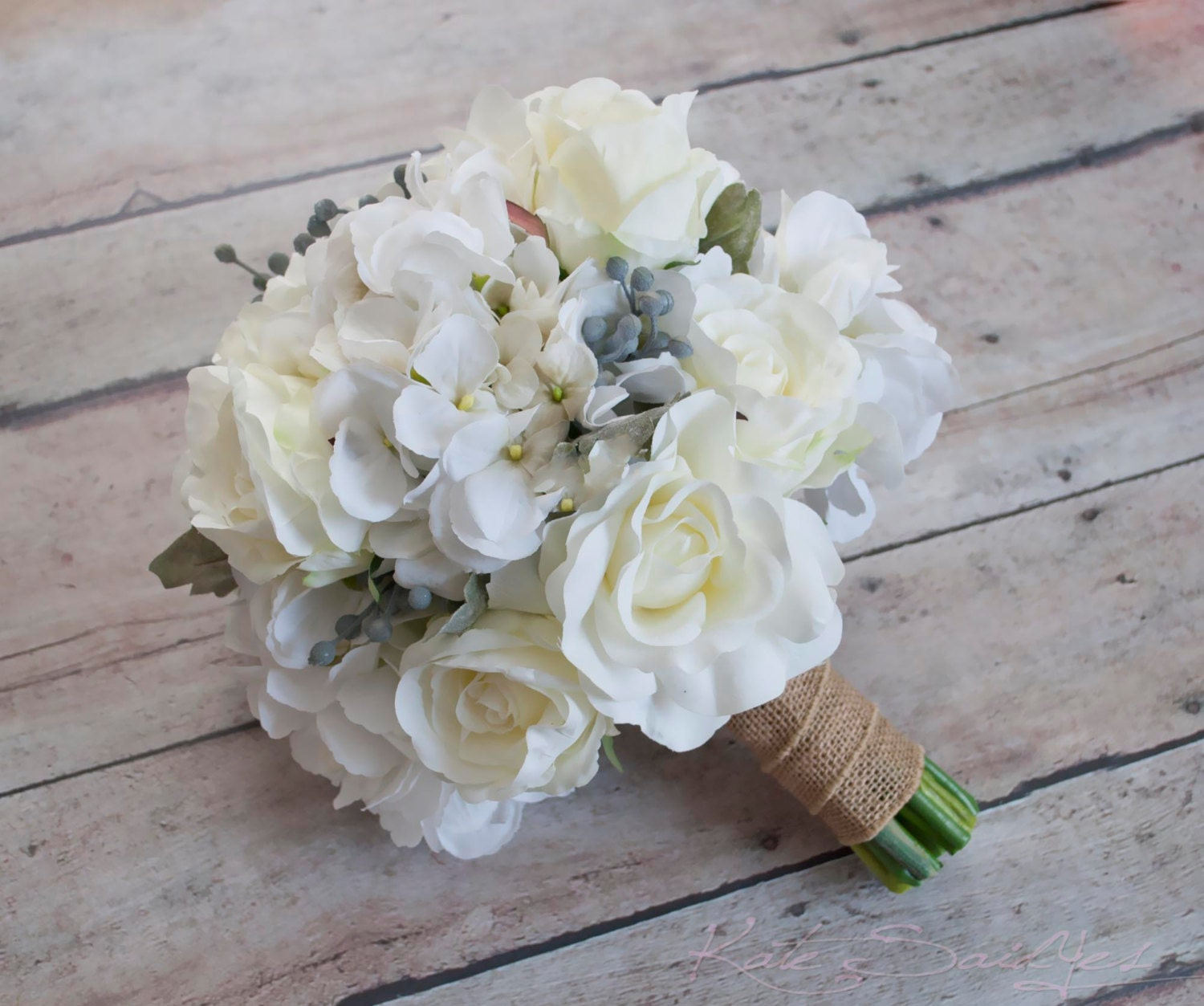 White Rose and Hydrangea Wedding Bouquet with Silver Brunia