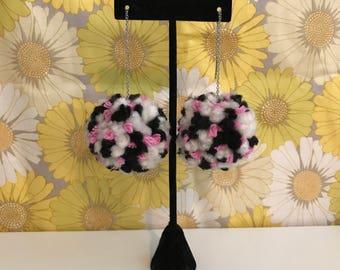 Pom Pom Earrings // Black, Cream & Pink