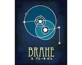 Tycho Brahe Science Art 11x14 Print - Astronomy Poster with Model of Solar System and Cassiopeia Constellation Illustration, Geeky Gift