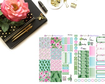 Tropical Kit// MINI HP Weekly Kit// 2 sheets of planner stickers