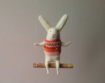 White bunny on swing, Felted Animal, Felted Bunny, Bunny Mobile,Baby Crib Mobile, Nursery Decor