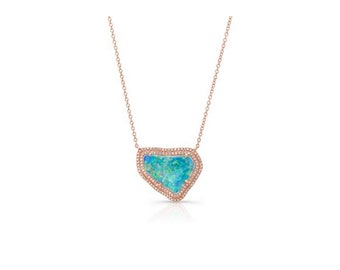 14KT White Gold Organic Opal Necklace