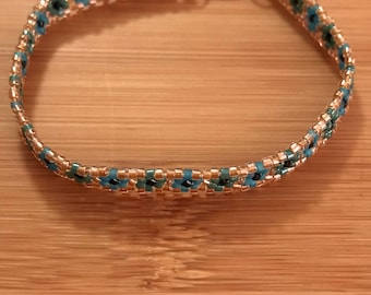 Dark Teal and Frosted Blue Beaded Bracelet