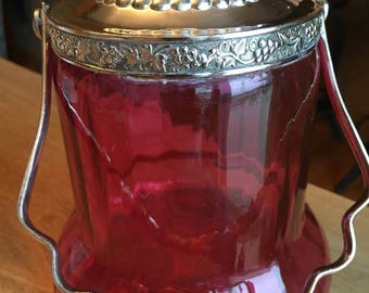 Victorian Antique Cranberry Inverted Thumbprint Biscuit Jar