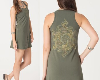 Green or Red Cotton Dress, Mandala Dress, Psychedelic Clothes, Rave Outfit, Festival Dress, Yoga Clothes, Summer Beach Dress