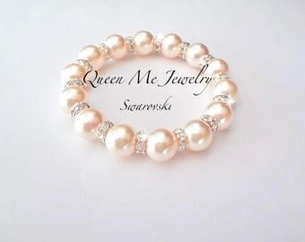 Pearl Bracelet, Chunky pearl bracelet, Swarovski pearl bracelet, Blush pearl bracelet, Bridesmaids bracelet, Pearl wedding bracelet~
