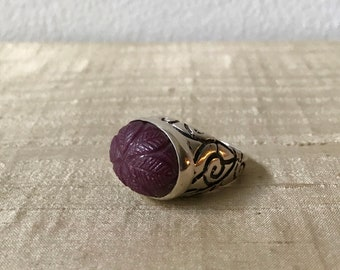 Carved Ruby and Sterling Silver- Longitude Ring
