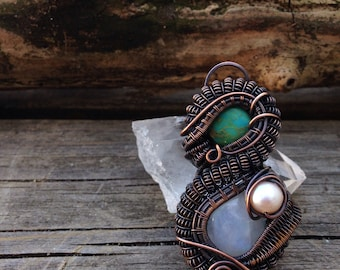 Mermaid Magic - Turquoise, Moonstone, and Pearl Copper Wire Wrapped Pendant