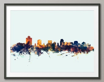Salt Lake City Skyline, Utah Cityscape Art Print (2551)