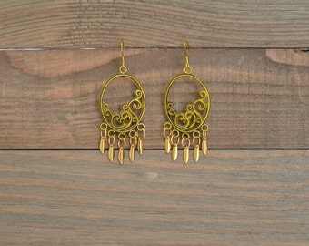 CLOSEOUT Gold Oval Fringe Earrings - Gold Spike Earrings - Gold Chandelier Earrings - Gold Statement Earrings - Gold Fan Earrings