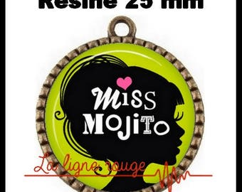 Brass toned Cabochon resin 25 mm - Miss mojito (2408)