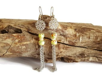 Beads and filigree earrings