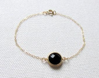 Minimal Black Bracelet Black Stone Bracelet Thin Gold Chain Choose Gold Plate or 14k Gold Fill Delicate Bracelet