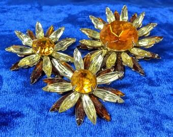 Vintage Designer Judy Lee Rhinestone Brooch and Earrings Sunflowers Beautiful