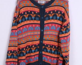 Coral Wear Womens L Sweater Cotton Buttons Multi Color Jumper