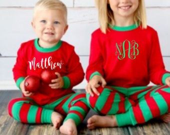 Family Children's  adult matching christmas xmas pajamas pjs set red and green stripe toddler youth kids