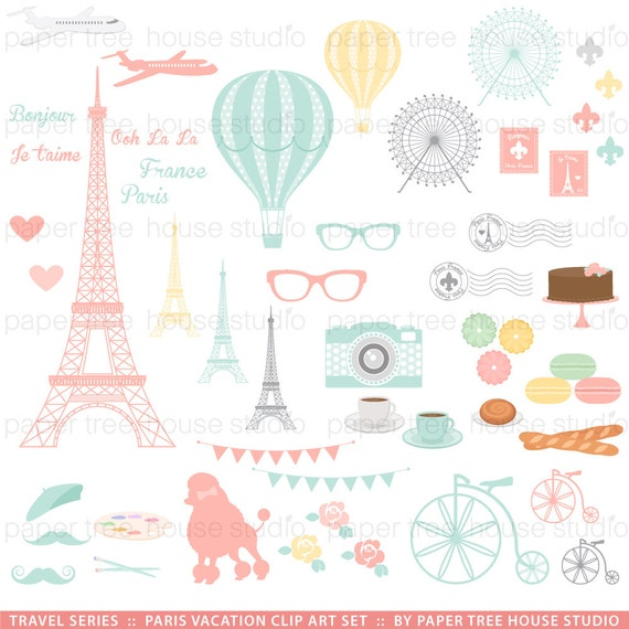 Travel Clip Art Vacation Clipart Paris France Eiffel Tower Hot Air Balloon French Icon From