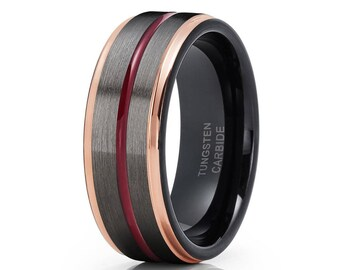 Gunmetal Tungsten Wedding Band,Maroon Wedding Band,Rose Gold Tungsten,Men & Women,Tungsten Carbide Black Ring
