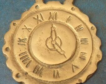 Rare antique Victorian HORSE BRASS Clock Face Design Made in England