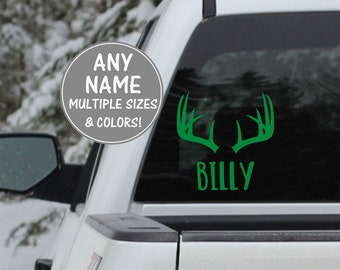 Deer Car Decal, Antler Decal Name Sticker, Hunting Decal for Car Deer Decal Car Decal Hunting Gifts for Men Window Decal Stickers