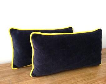 Navy Blue Velvet Throw Pillow, Midnight Blue Cushion, Home Decor