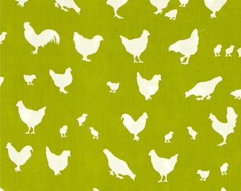 Hens and Friends on Grass Green  From Birch Organic Fabric's Farm Fresh Collection by Jay-Cyn Designs