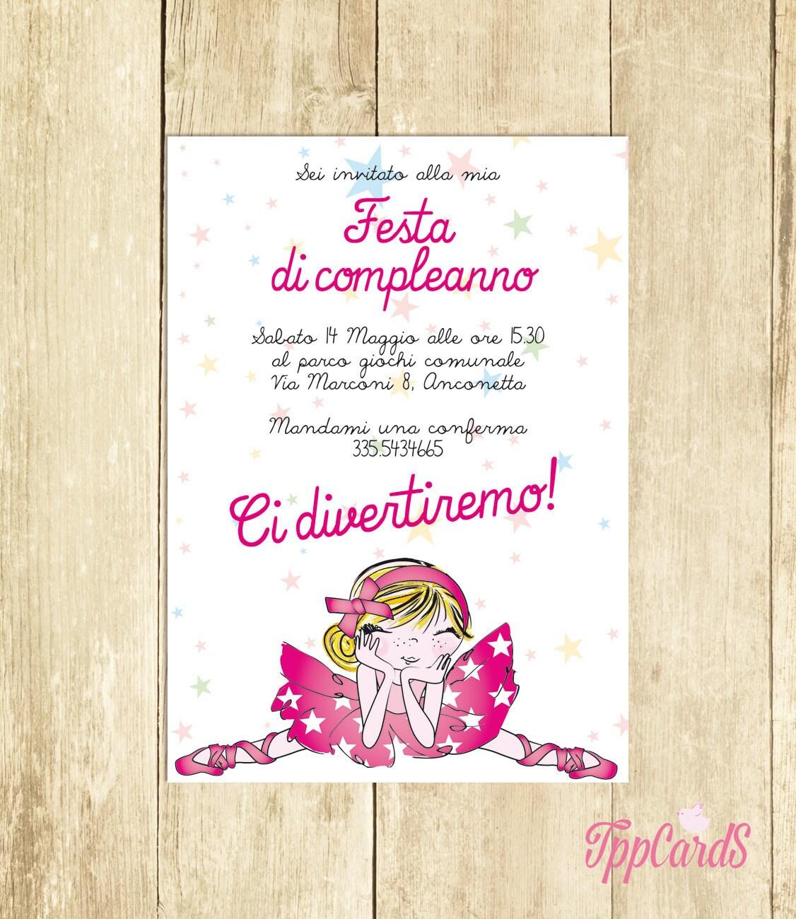 Invito Compleanno Ballerina Invito Festa Compleanno Invito