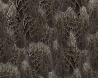 Eagle Fabric Majestic Eagle Charcoal Feathers Fabric From Quilting Treasures 100% Cotton