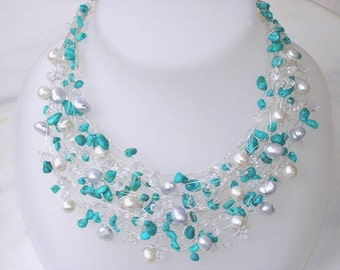 Turquoise Necklace, multi strand Real Pearls turquoise Beaded necklace, Nautical Bridal Silver Modern Unique blue gemstone wedding statement
