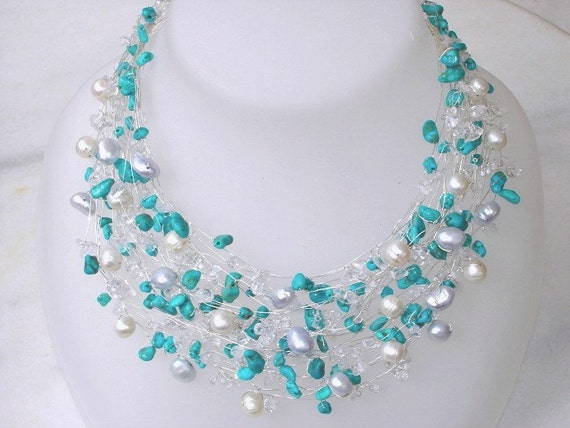 Turquoise Necklace multi strand Real Pearls turquoise Beaded