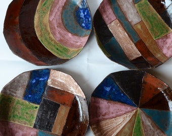 Plates, Set of 4, Handmade pottery, Round Plate, Dinner Plate, Japanese pottery, one and only, ceramic