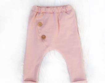 Rib knit|Button harem pants in blush pink|Button details|Girl pants|boho baby leggings