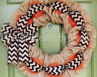 Halloween Wreath, Halloween Burlap Wreath, Orange and Black Wreath, Fall Wreath, Chevron Wreath, SF Giants Wreath, San Francisco Giants