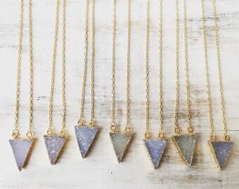 Mini Druzy Quartz Triangle Necklace, Gemstone Pendant, Druzy Slice, Gold Electoformed, Gold Gem Necklace, Quartz Necklace, Crystal Necklace