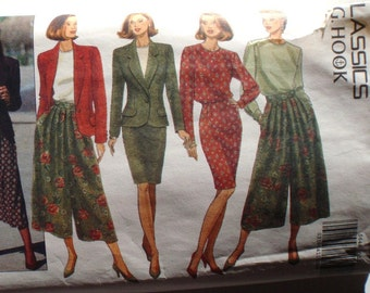 J G Hook Sewing Pattern - Lined Jacket, Back Button Blouse, Tapered Skirt and Split Skirt  - Butterick 5644  - Sizes 12-14-16, Bust 34 - 38