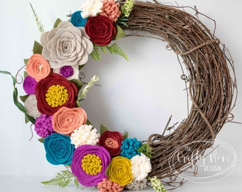 Fiesta Felt Flower Wreath || Grapevine Wreath || Front Door Wreath || Mantel Wreath || Nursery Decor || Floral Decor