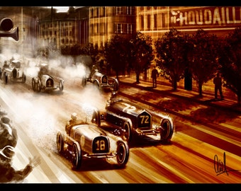 1930s Vintage Grand Prix Automotive Art 8x12 Metallic Print