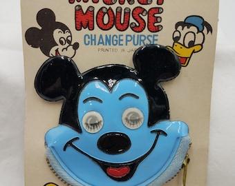 Mickey Mouse Change Purse on Original Card Moving Eyes Souvenir Disney