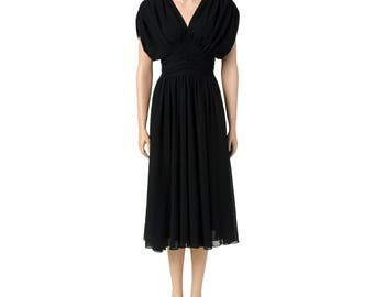 Vintage Black Chiffon Evening Dress with Ruching Detail. Size XS