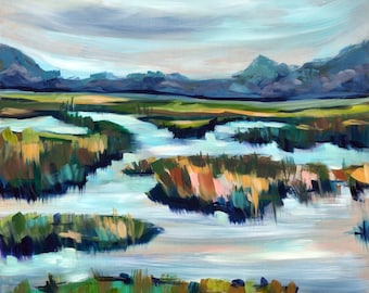 """Limited Edition Archival Print of """"Litchfield Inlet"""" by Meredith Piper, from her original marsh painting with resin"""