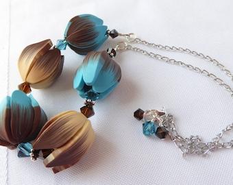 Tulip Garden Necklace; polymer clay necklace; garden necklace; flower necklace; floral necklace