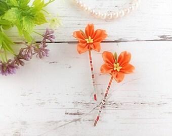 Flower bobby pins kanzashi flower hair pins for women kanzashi hair pins bridal hair pins prom hair flower orange star flower bobby pins