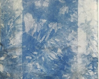 Vintage Kimono Indigo dyed silk fabric piece for Boro, Embroidery, Slow Cloth, Patchwork and Quilting