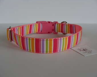 Pink Striped Dog Collar - Ready to Ship!